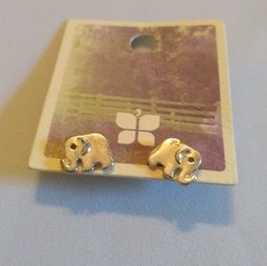 NWT Altar'd State Silver Elephant Stud Earrings